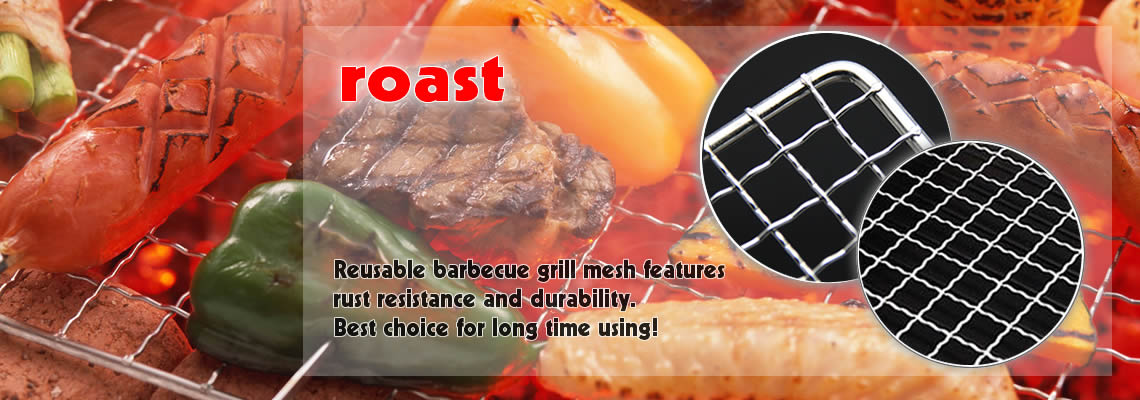 A picture of vegetables and meat are grilling on barbecue grate. On the side, there are two pictures of the products' detail.