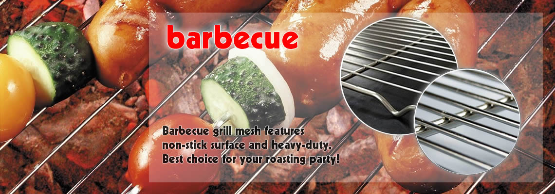 A picture of barbecue grill mesh with vegetables and meat. And on the side, there are two pictures of products' detail.