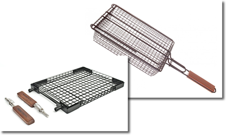 A grilling basket with lid and a grilling basket with detachable handles