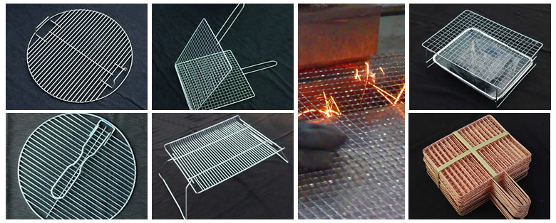 The middle part is a worker who is producing barbecue grill mesh. And around are the specific barbecue products.