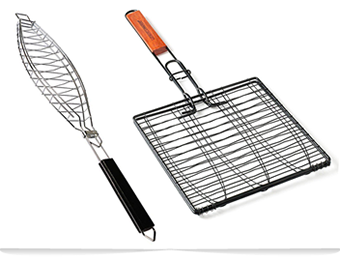 A single fish grilling basket and a triple fish grilling basket.